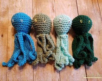 Cotton Crochet Octopus available in multiple colors