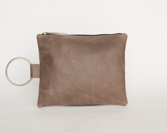 Small Leather Hand Bag, Handmade Leather Purse with Bracelet Handle, Small Leather Purse, Evening Clutch - Coffee Leather Clutch Purse