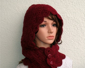 Hooded Scarf - Hooded cowl - Bordeaux Crochet Hood - Crochet scoodie scarves -  Hood Scarf - Crochet Hood Scarf - Winter hat