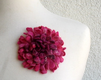 Hand felted Dahlia Felted flower brooch pink Felt brooch Merino wool brooch Felt jewelry Ready to ship