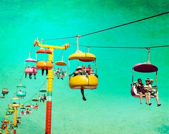 Santa Cruz Boardwalk, Carnival Rides, Mid Century Photo, The Sky GLider, Americana Photography, Fine Art Photography, Large Wall Art