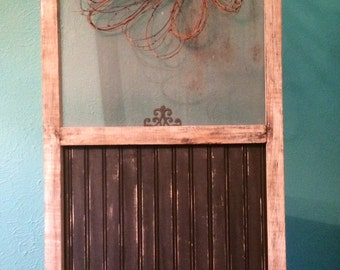 Vintage window screen and Beadboard used to make Unique Wall Hanging