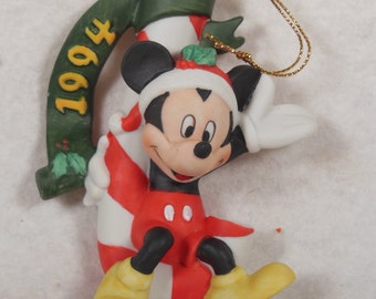 Vintage-Walt Disney-Mickey Mouse sitting On A Candy Cane-Ornament-With Box