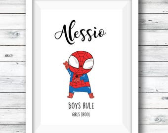 Personalised superhero print, superhero fan art, boys room, gift for boys, superhero wall art, fan art, superhero print, custom print, hero