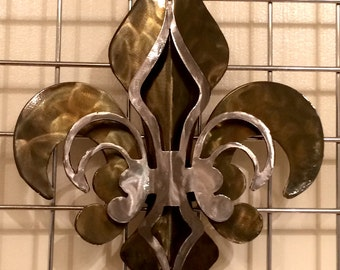 2- Part Open Patina & Polished Fleur De Lis