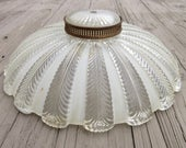 """Vintage LARGE 14.5"""" Ceiling Glass Light Shade / Fixture, Clear and Frosted Glass, Pressed Pattern, Mid Century, 1940s"""