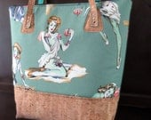 Zombie PinUp on Green Girls Extra Large Valley Tote with Cork Bottom and Straps
