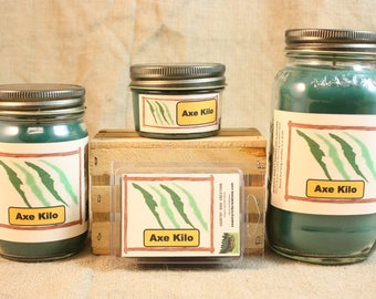 Axe Kilo Type Scented Candle, Axe Kilo Type Scented Wax Tarts, 26 oz, 12 oz, 4 oz Jar Candles or 3.5 Clam Shell Wax Melts