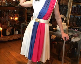 1980's Poly Dress White with Blue and Red Stripes on Front, Sleeveless, Retro Boho Poly Knit Midi