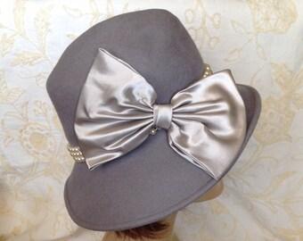 Designer cloche hat by George gray wool felt pearl band satin bow wired brim retro chic spring fashion accessory
