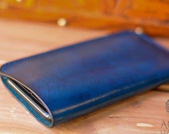Iphone 7 Plus Leather Case Blue Veg Tan Stitched