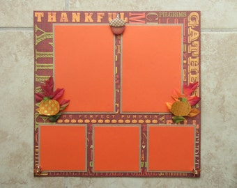 12x12 Fall/Thanksgiving Premade Scrapbook Page with Optional Extra Sentiment