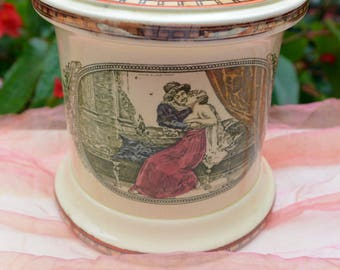 Adams Tobacco Jar, China - England, Shakespeare,King Henry VI, Bedroom Scene - Antique - Stunning!