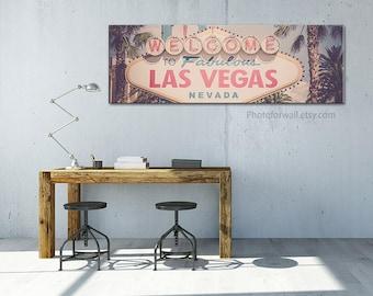 Las vegas sign in large canvas art/pink photography/las vegas print personalized art decor/oversized art/large wall art/california sign art