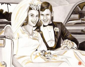 GOLDEN WEDDING ANNIVERSARY gift for parents, from old wedding photo, golden portrait, golden gift for 50th wedding anniversary, watercolor
