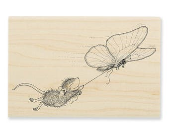 Stampendous Butterfly Ride House Mouse wood mounted Rubber Stamp