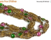 "Holiday Sale Art Deco Pink Green Crystal Necklace Imprinted Flower Design 57"" Flapper Necklace"