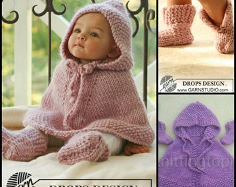 Hand knitted baby hooded poncho cape and booties baby knitwear clothes made to order