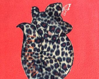 Personalised kitten baby blanket in orange and leopard print