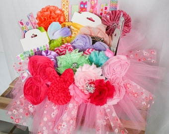 Tulle Easter Basket filled with Headband, Hairclips & Hair Ties - Gift!