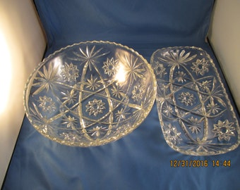 """Early American Prescut Glass """"Star"""" or Star of David Bowl and Platter"""