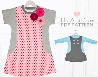 Girls Dress pattern pdf, Tshirt Dress Pattern, Childrens Sewing Pattern pdf, Stretch Pattern, Tunic Pattern, Girls Sewing Pattern, AMY