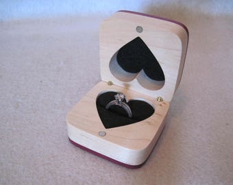 Engagement Ring Box   Maple and Purpleheart with a bow