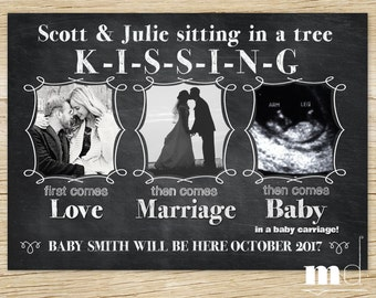 Chalkboard Pregnancy Announcement, Facebook Baby Announcement, First Comes Love, Sitting in a Tree / Kissing, PRINTABLE DIGITAL FILE for web