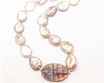 Large Pink Freshwater Pearls with Hand Blown Glass