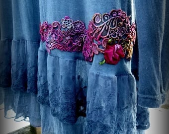 Upcycled, Top, Romantic, Blue, Altered, Gift, Handmade, Country, Wedding Destinations, Womens
