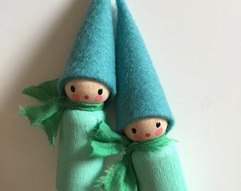 felt peg doll - gnomes - handmade - Waldorf inspired - pocket size