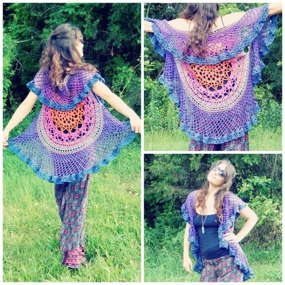 Crochet Pattern Lotus Mandala Circular Vest Colorful
