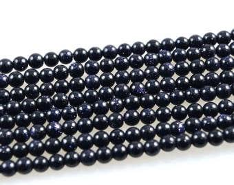 Blue Goldstone-Blue Goldstone Bead Strand-Round Blue Goldstone Beads-Blue Goldstone-4mm Round Beads-Goldstone Bead Strand-Goldstone Beads