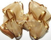 Holiday Gold Hair Bow Organza Satin Trim Ribbon Baby Girl Toddler Childrens Accessories Barrette Clip Wedding Party Dance Pageant Birthday