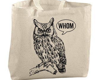 Large Totes Beach Bags Canvas Tote Bag Whom Owl Tote Reusable Grocery Bag Tote Teacher Bag Gifts for Teachers Gifts Library Bag Library Tote