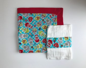 Receiving Blanket and Burp Cloth