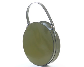 Olive green round leather bag, circle bag, green leather purse, green shoulder bag, green round handbag, green bag, FREE SHIPPING