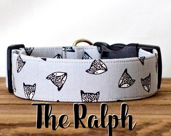 "Playful Squirrel Unisex Grey & Black Dog Collar ""The Ralph"""