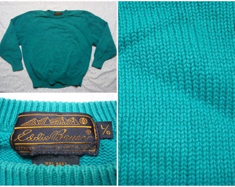 Vintage Retro Men's 80's Eddie Bauer Sweater Green Turquoise  Crew Neck Knit Large