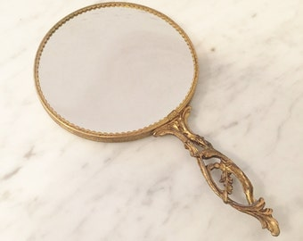 Ornate Gold Hand Mirror, Magnifying Mirror, Hollywood Regency