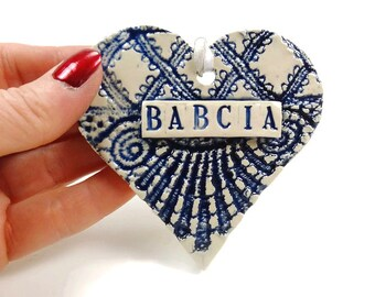 Babcia Ornament, Heart Ornament, Grandmother Ornament, Babcia Birthday, Grandparent Gift, Polish Grandmother, Babcia Christmas Ornament