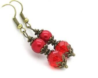 Apple Red Bridesmaid Earrings, Rustic Style Wedding Jewellery, Pearl Drop Earrings, Red Bridal Sets, Bridal Party Gifts, Crystal Dangles