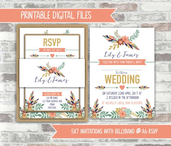 PRINTABLE Digital Files - Rustic Tribal Printable Wedding Invitation Bundle - Feathers, Foliage, Flowers Peach, Green, Navy Wedding Invites