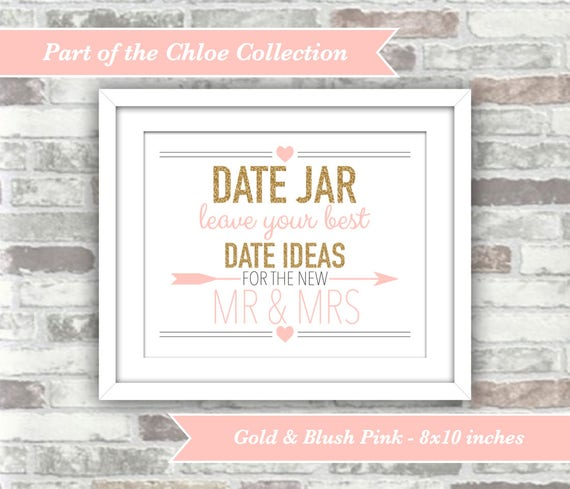 INSTANT DOWNLOAD - Chloe Collection - Printable Wedding Date Jar Sign - 8x10 Digital Files - New Mr & Mrs - Gold Glitter Effect Blush Pink