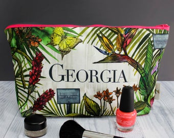 Wash make up bag with personalised tropical botanical floral pattern - gifts for her