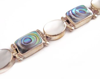 Paua and Mother of Pearl Bracelet - Sterling Natural Shell Bangle - 11 Sections - Nepal Silver - Vintage Nepalese Himalyan Jewelry