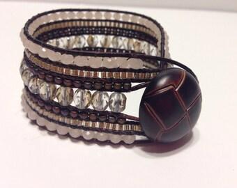 7 Row Beaded Leather Bracelet