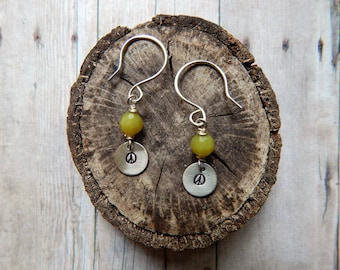 Peace sign earrings, silver charm earrings, green gemstone
