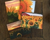 Falling Off Bicycles Kansas sunflower framable 5x7 notecards, set of 4 by Julia Willard