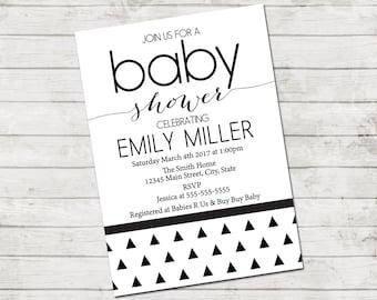 Triangle Baby Shower Invitation - Triangle Baby Shower - Modern Baby Shower - Black & White Series - Black White Modern Invite - Printable